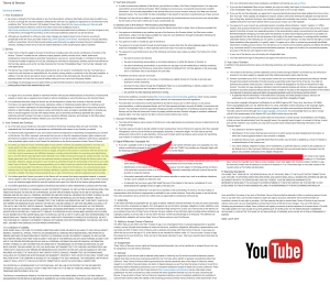 YouTube's TOS, with the copyright license highlighted.