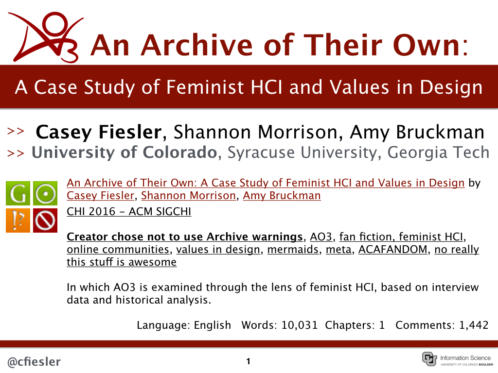 an archive of their own a case study of feminist hci and values an archive of their own a case study of feminist hci and values in design chi 2016